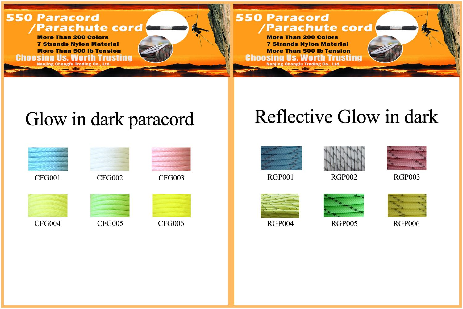 New Colors Paracord Chart Glow In Dark Paracord Chart Glow In The Dark Paracord Color