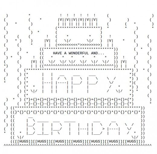 Happy Birthday ASCII Text Art Birthday cakes Keyboard symbols and