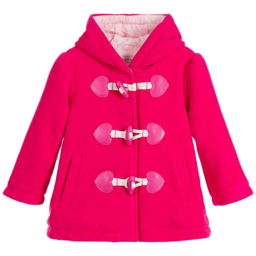 Baby Girls Fuchsia Pink Fleece Duffle Coat | Duffle coat, Kids ...