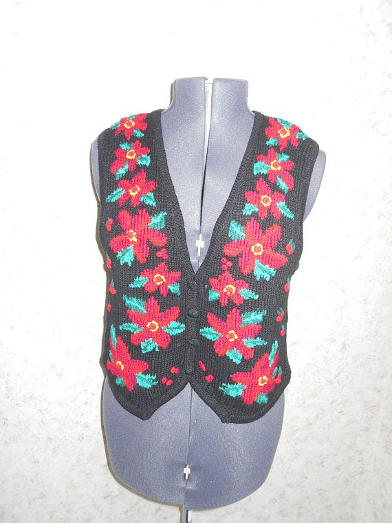 Vintage 90s Ugly Christmas Sweater Vest Party Cropped Vest Red ...