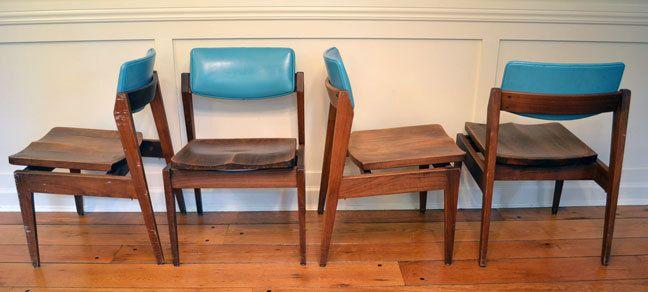 Midcentury Modern Gunlocke Chairs Turquoise Via Etsy My