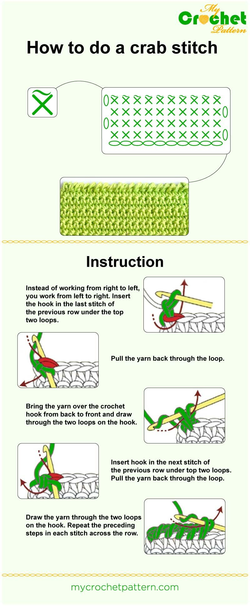 How To Do A Crab Stitch Infographic 31 Basic Crochet Stitches