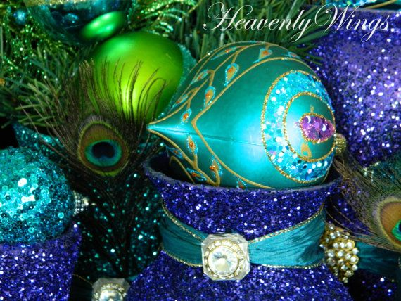 Holiday Peacock Photography Beautiful Glitter by HeavenlyWings - peacock christmas decorations