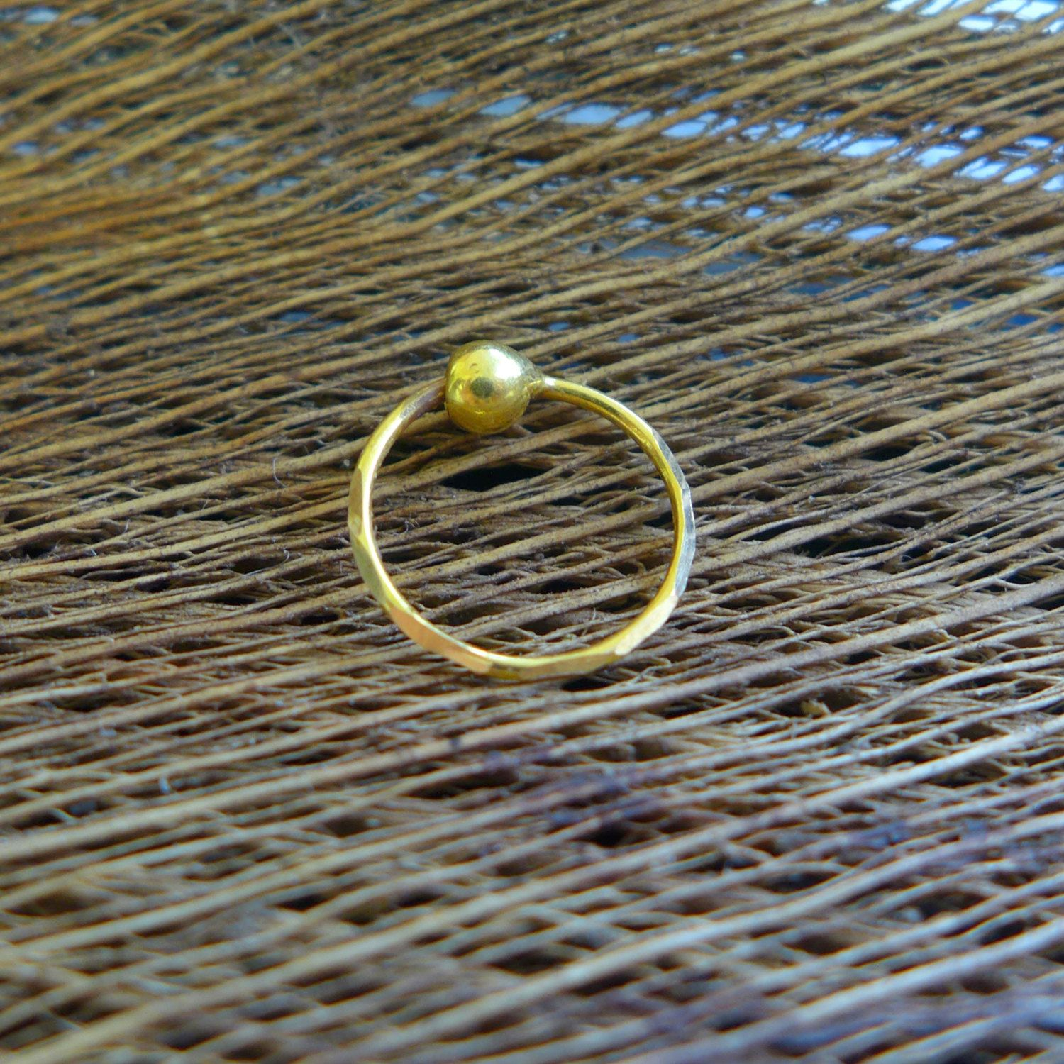 22k Gold Nose Ring For Pierced Nose Gold Wire Ring With Ball