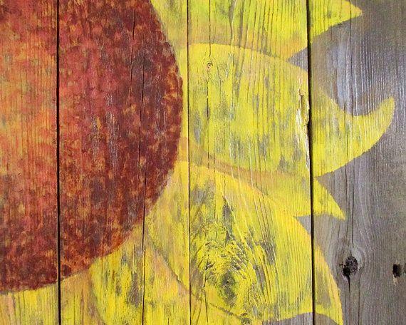 Rustic Barn Sunflower Wall Decor Country Farm Fence Folk Art ...