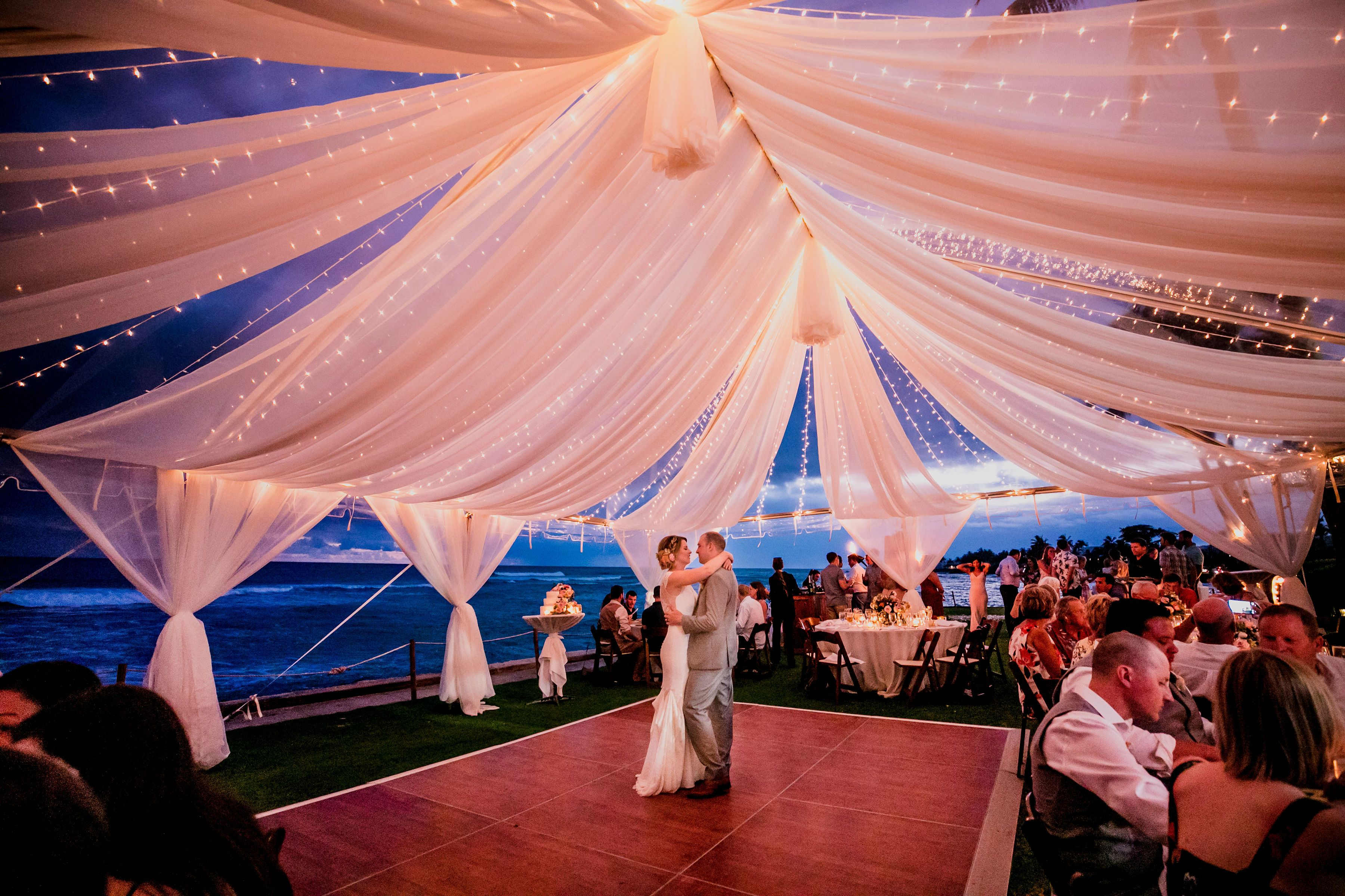 Oceanfront Reception Location Clear Canopy With Luxe Chiffon And