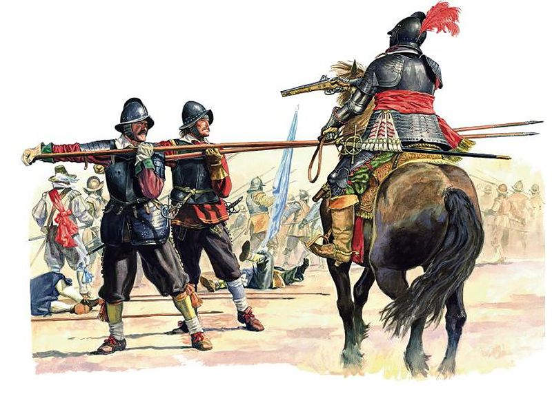 Battle of the White Mountain (Bila Hora), 1620. Lancers and Cuirassier attack them