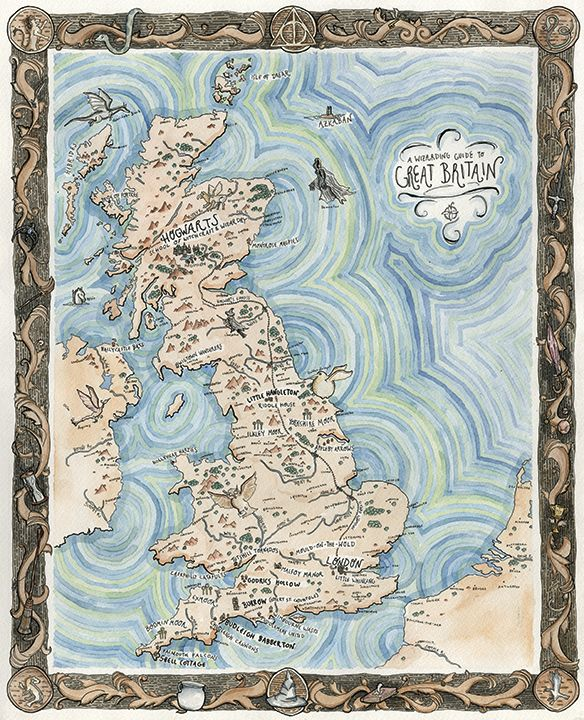 Harry Potter Map Of England.A Wizarding Guide To Great Britain Map From Broke Friends Stuff