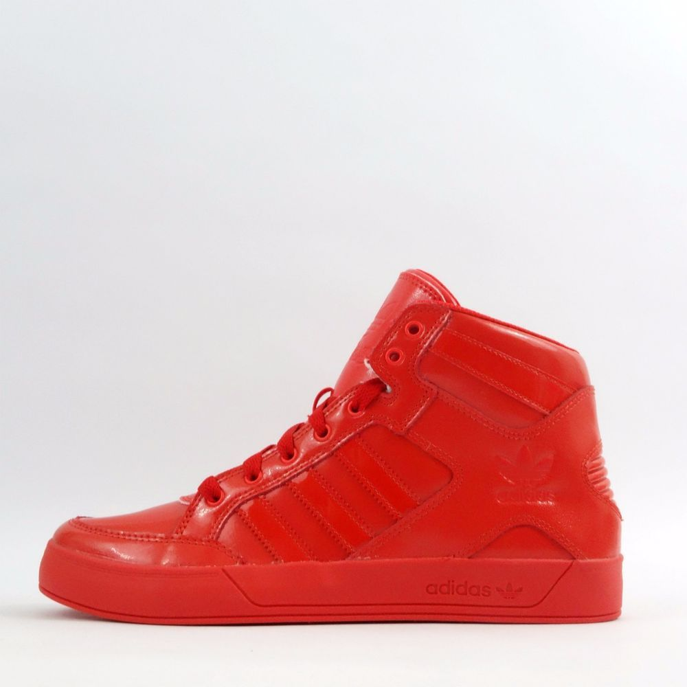 61da7107f45 adidas Originals Hardcourt Hi Top Patent Triple Red Mens Trainers Shoes  Sneakers in Clothes