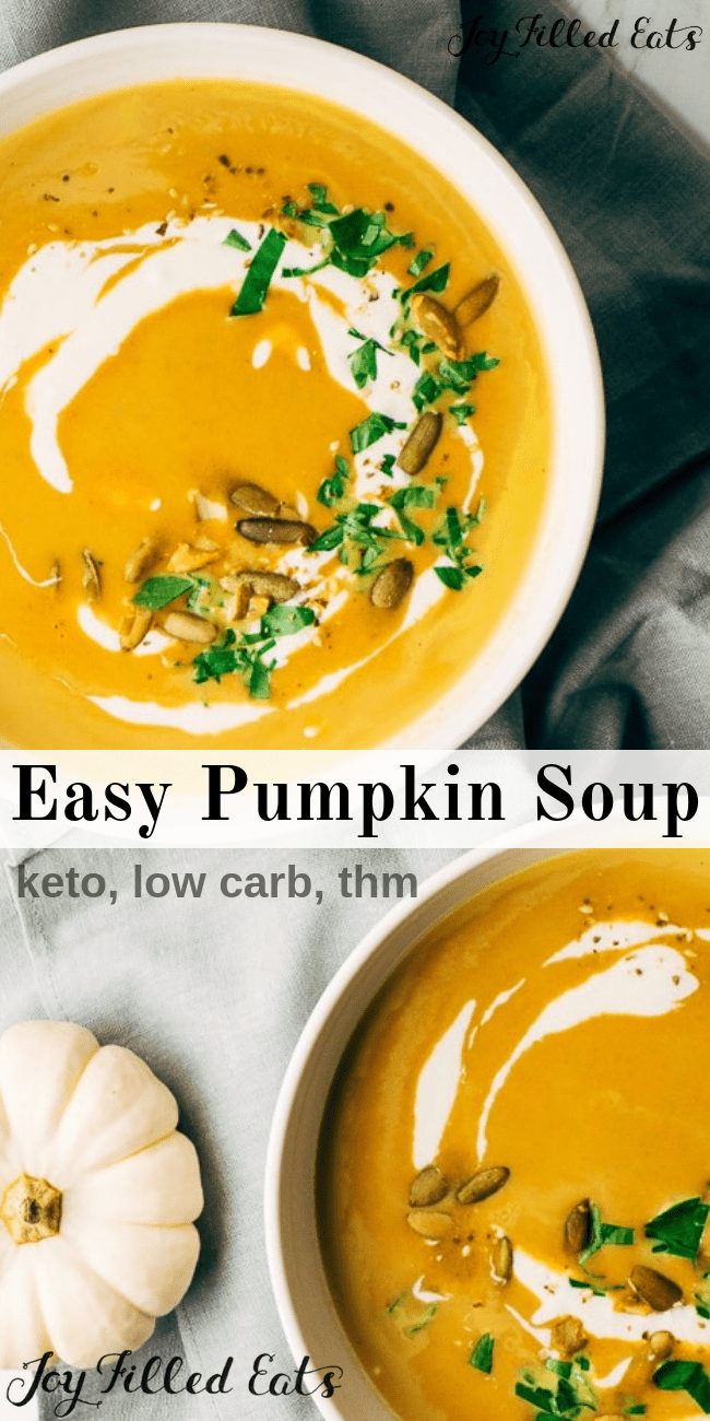 Easy Pumpkin Soup Recipe - Low Carb, Keto, THM S, Gluten-Free, Grain-Free - A comforting keto easy pumpkin soup recipe made with simple pantry staple ingredients. Low carb, gluten-free, and just 6 ingredients.