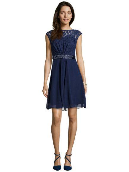 online retailer 4d2c6 cc828 COAST Cocktailkleid mit Oberteil aus floraler Spitze in Blau ...
