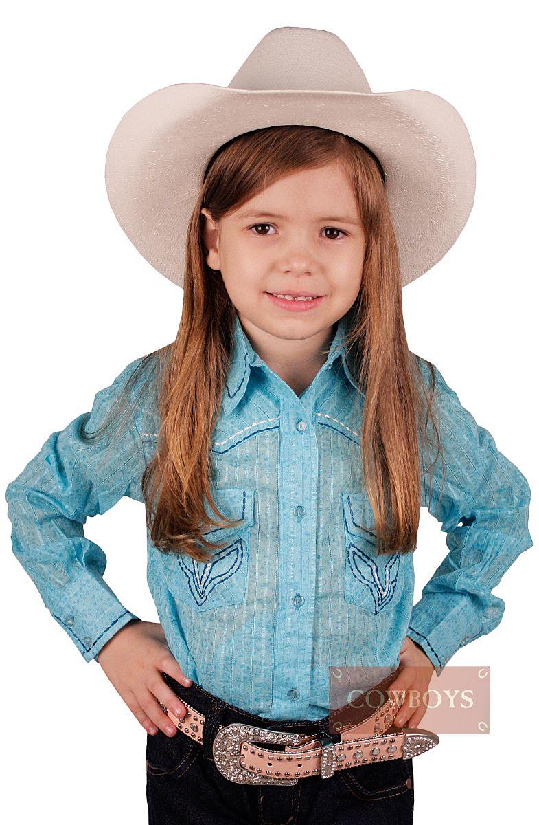 75acf438e9 Camisa Infantil Manga Longa Azul Resistol Camisa feminina infantil manga  longa importada da marca Resistol Feita