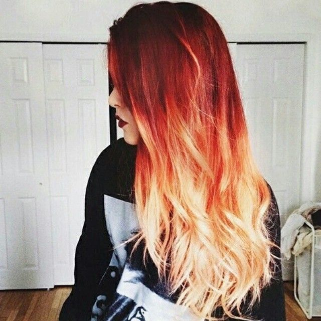 On Instagram Red Orange Blonde Hair Color Colorfulhair Ombre Curled Tumblr Tumblrhair Mermaidhair Mermaid Wehe Orange Ombre Hair Fire Ombre Hair Fire Hair