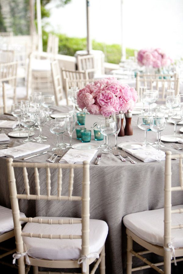 Family style reception with white chiavari chairs, gray ... |Wedding Grey Table Linens