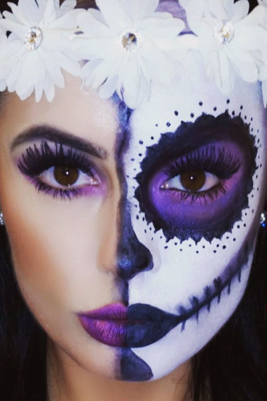 33 Einfache Sugar Skull Makeup Looks – 2020 DIY Halloween Makeup Ideen – juelzjohn