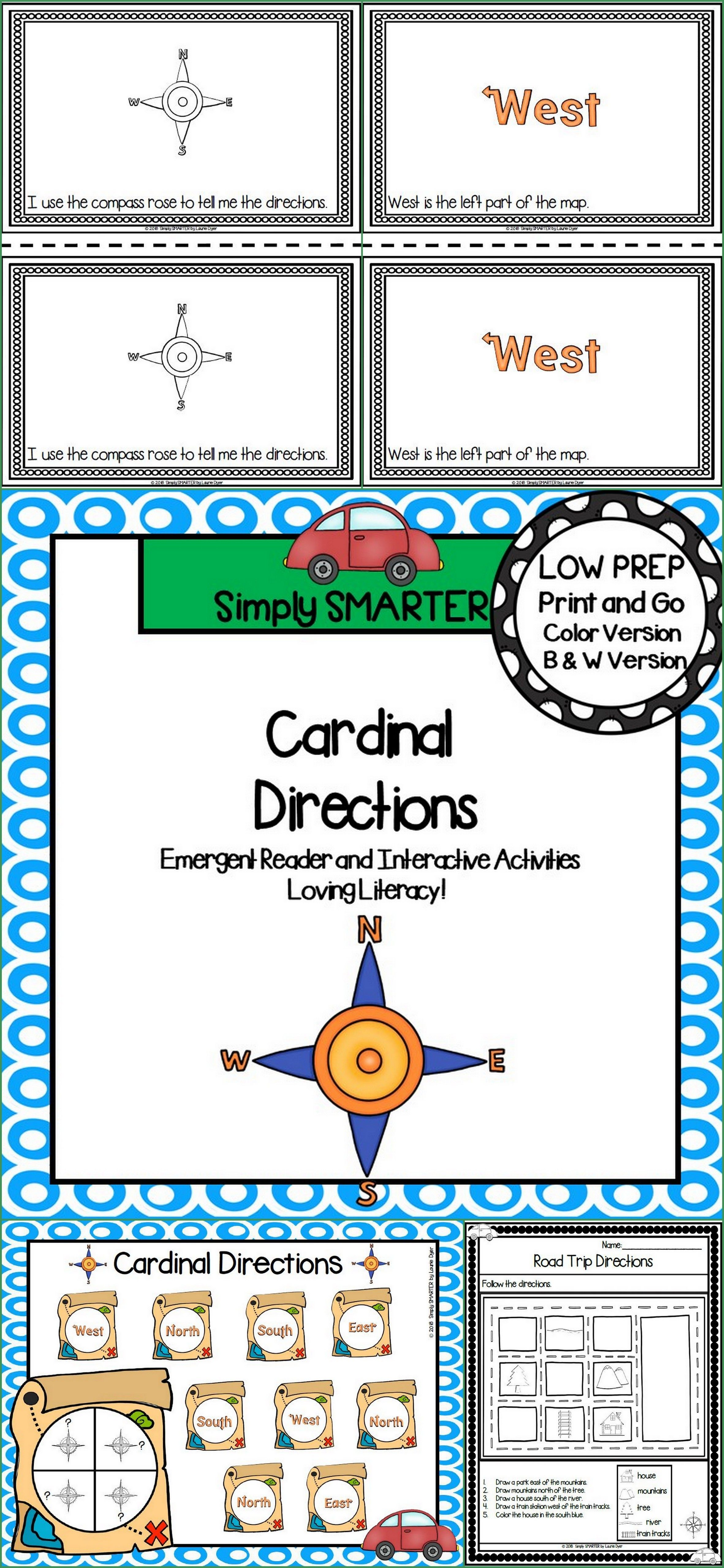 Cardinal Directions Emergent Reader Book And Interactive