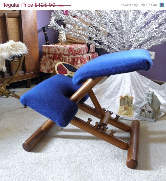 Vintage Kneeling Chair, Ergonomic Chair, Teak Wood Balans