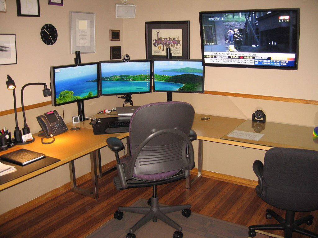 triple monitor setup | home office | pinterest | monitor, desks