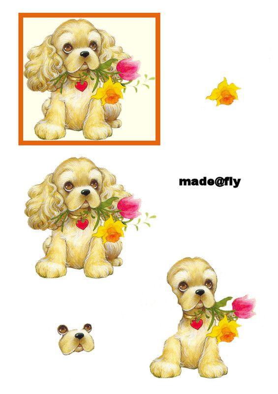 Cocker Spaniel Animal Cards Card Making Designs Decoupage Paper