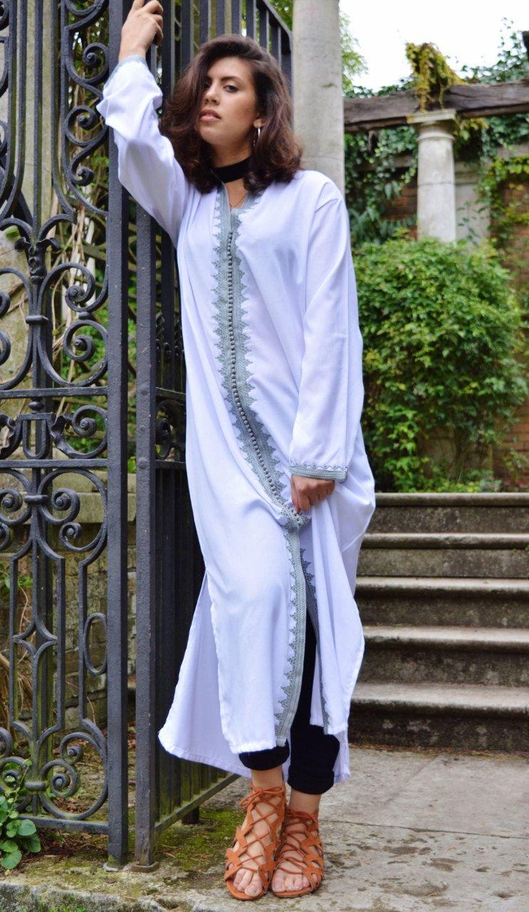 f1da79f0d35 Spring Spring Trendy Clothing White Grey Maha Moroccan Caftan Kaftan ...