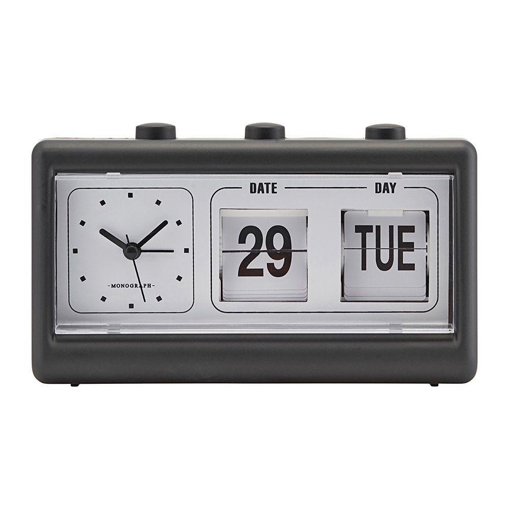 Buy Monograph Alarm Clock With Calendar Retro Black In 2020