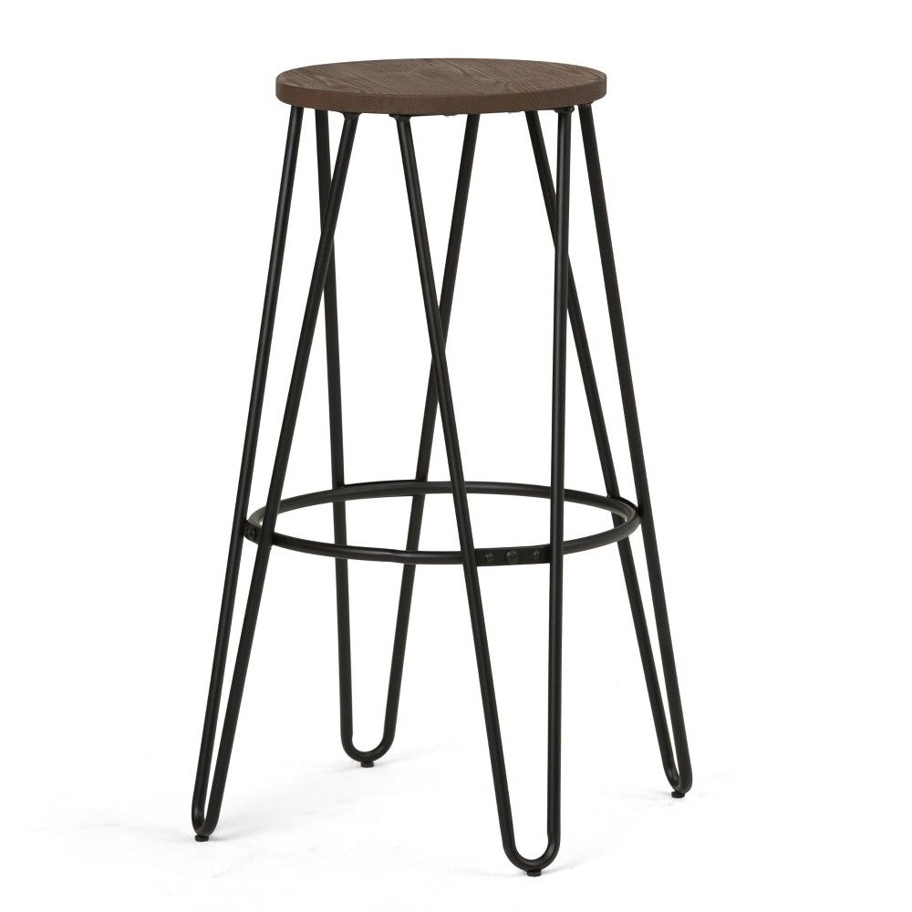 30 Simeon Metal Wood Bar Stool Black And Cocoa Brown Simpli Home