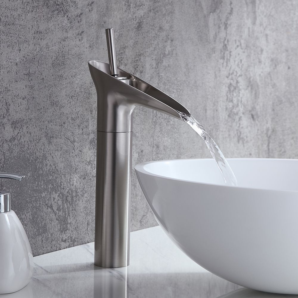 Ashfie Classic 1 Hole Single Lever Vessel Sink Waterfall Faucet Solid Brass In Brushed Nickel Faucet Waterfall Faucet Vessel Sink