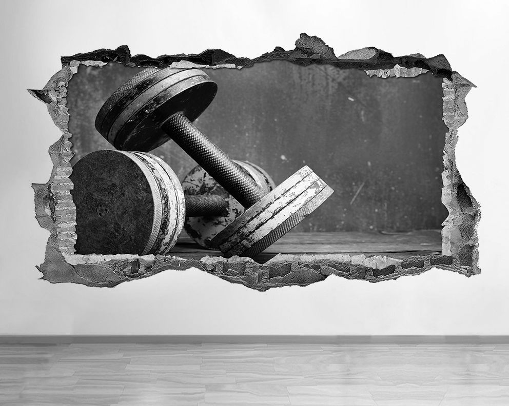 s411 dumbells gym black and white smashed wall decal 3d art stickers