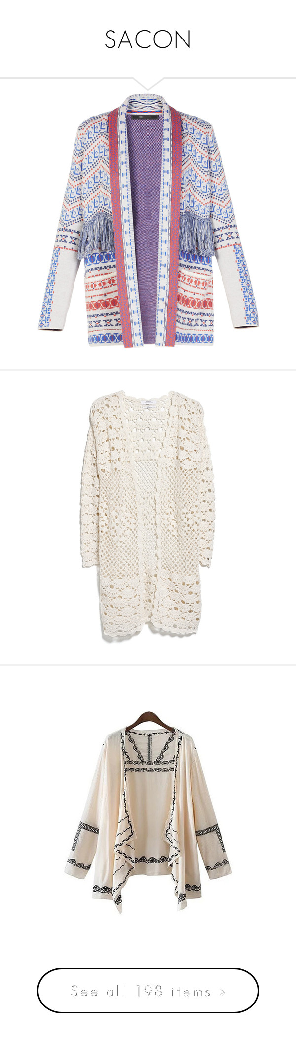 """""""SACON"""" by laumariborche on Polyvore featuring tops, cardigans, outerwear, jackets, blazers, open front cardigan, fringe cardigan, fringe top, cardigan top y shawl collar open front cardigan"""