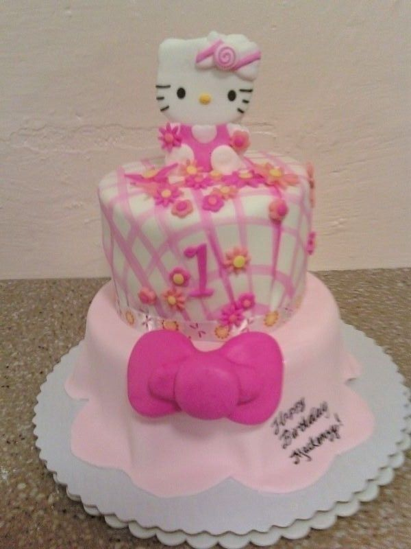 Remarkable Hello Kitty 1St Birthday Cake Idea In Pink And White Fondant And Funny Birthday Cards Online Inifodamsfinfo