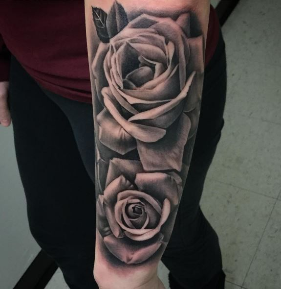 Black Gray Roses Tattoo Inkstylemag Rose Tattoos For Men Rose Tattoo Sleeve Rose Tattoos
