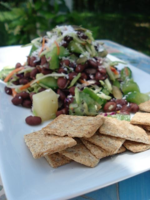 Island Bean Salad (from Kath Eats Real Food)  2 servings   Roughly 350 calories per serving