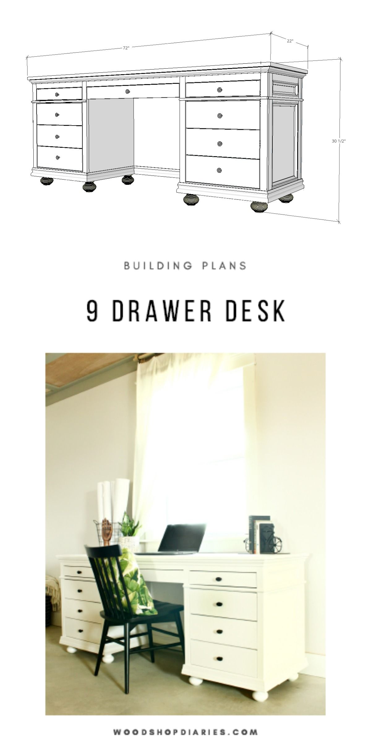 Diy storage desk for home office building plans and
