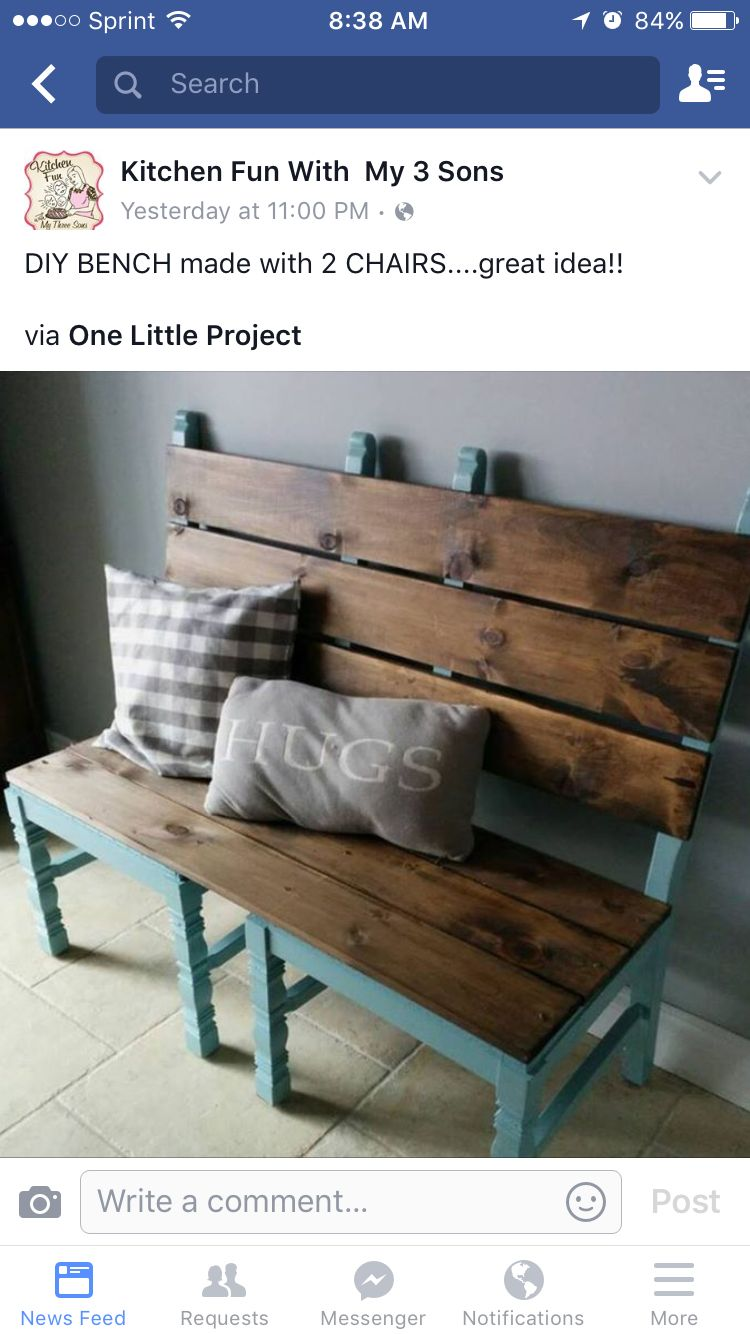 Outstanding Bench From 2 Old Chairs For The Home Diy Furniture Unemploymentrelief Wooden Chair Designs For Living Room Unemploymentrelieforg