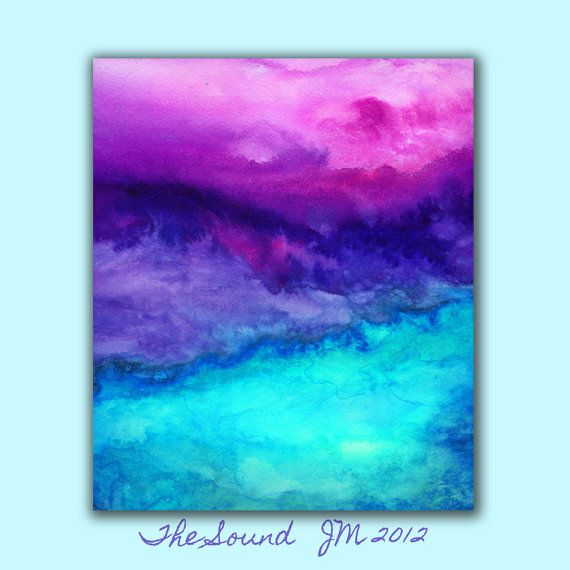 Abstract Watercolor Art Print in Vibrant tones purple