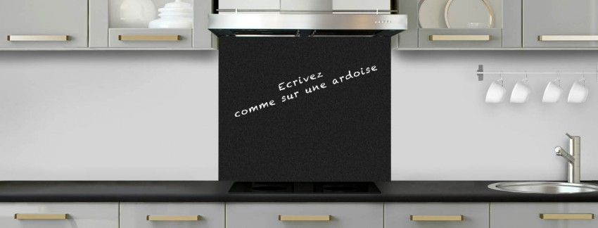 cr dence de cuisine noir mat effet ardoise sur mesure fond de hotte aluminium ou verre. Black Bedroom Furniture Sets. Home Design Ideas