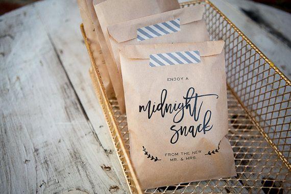 20 Bags Midnight Snack Craft Paper Bag Favor Wedding