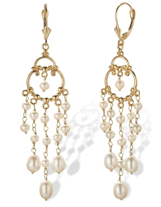 14k Gold Pearl Chandelier Earrings