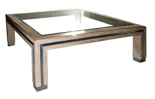 Italian Crystal Beige Coffee Table W Glass Top Coffee Table