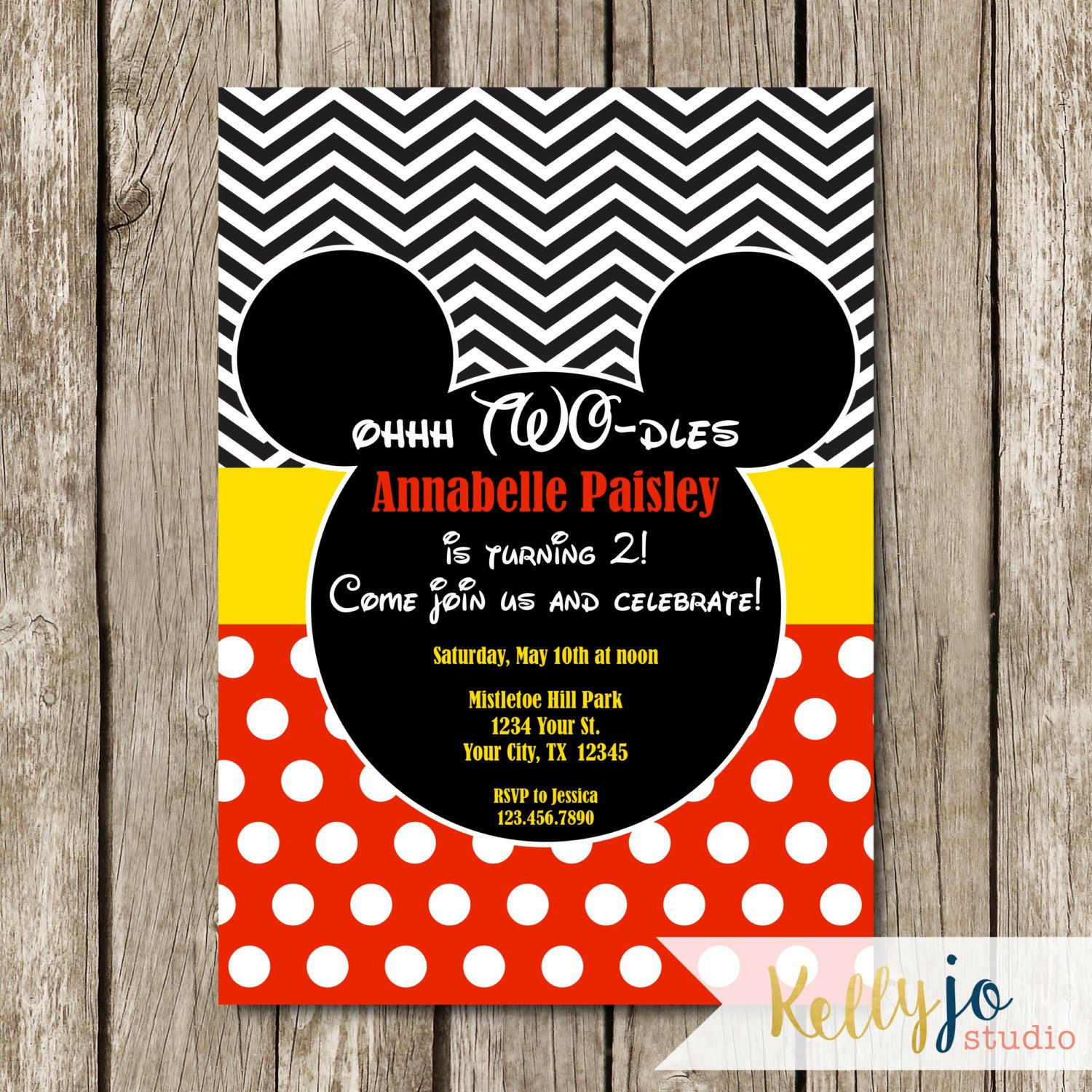Mickey Mouse Oh Two-dles Birthday Invitation - Mickey Mouse ...