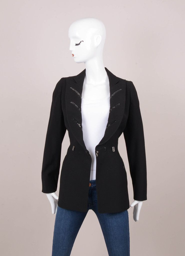 Black Rhinestone Trim Wool Blazer