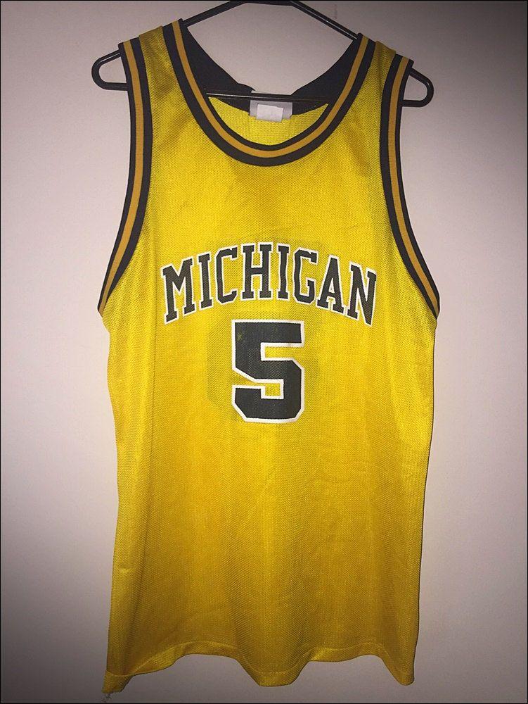 c3f12098eeb Vintage 90's NCAA Michigan Wolverines Jalen Rose Logo Athletic Basketball  Jersey - Size Medium by RackRaidersVtg on Etsy