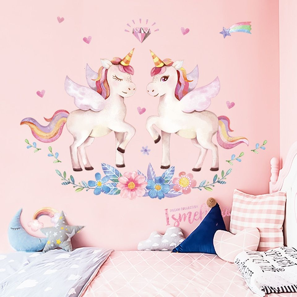 Rainbow Unicorn Wall Art Prints Baby Nursery Poster Cute Canvas Painting Nordic Decoration Picture Children Kids Bedroom Decor Girls Wall Stickers Unicorn Wall Decal Kids Wall Decals