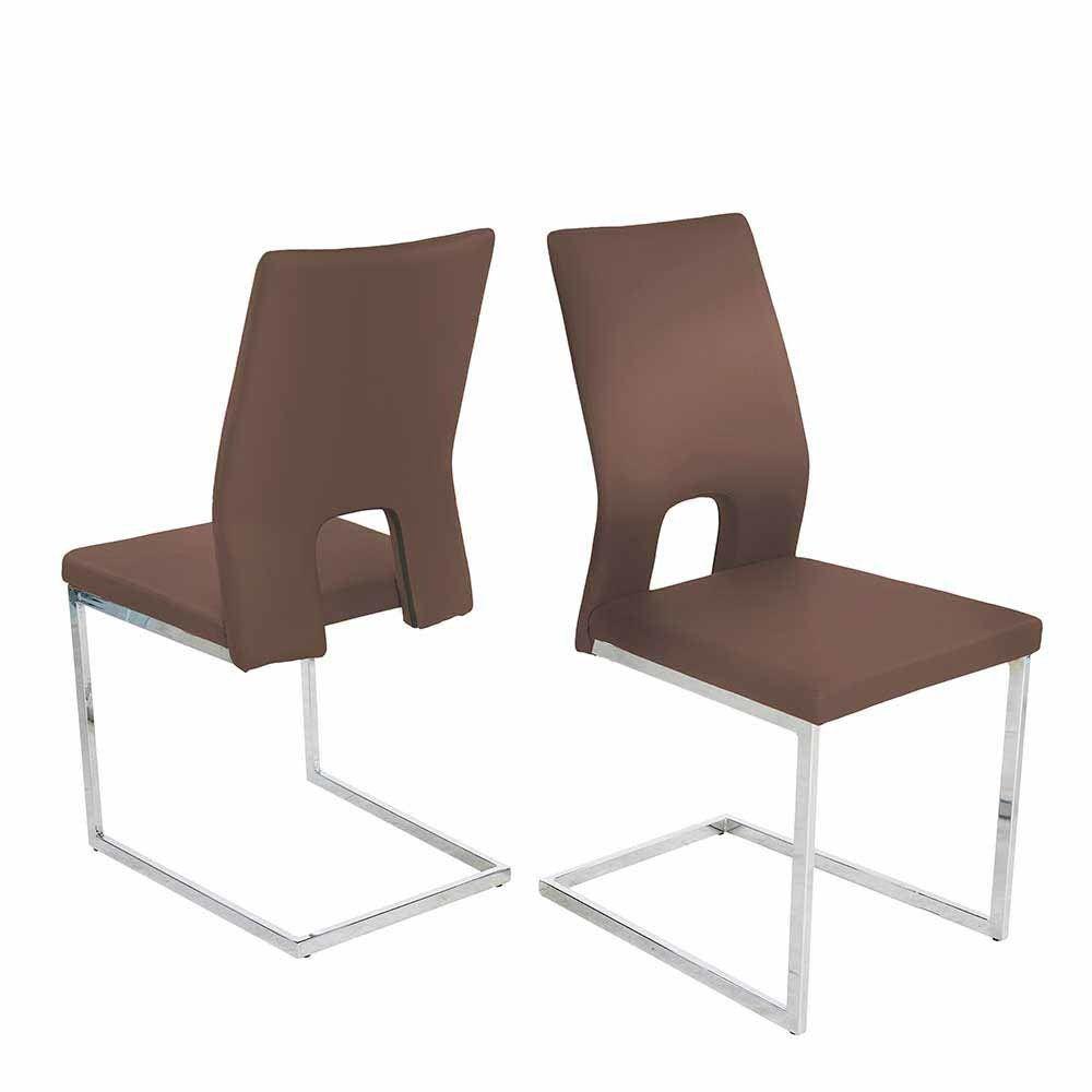Design Schwingstuhl Set in Braun Kunstleder Lehne offen (4er Set ...