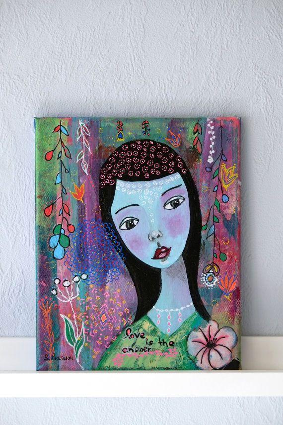 Original Painting on canvas, girl portrait, flowers, unique ...
