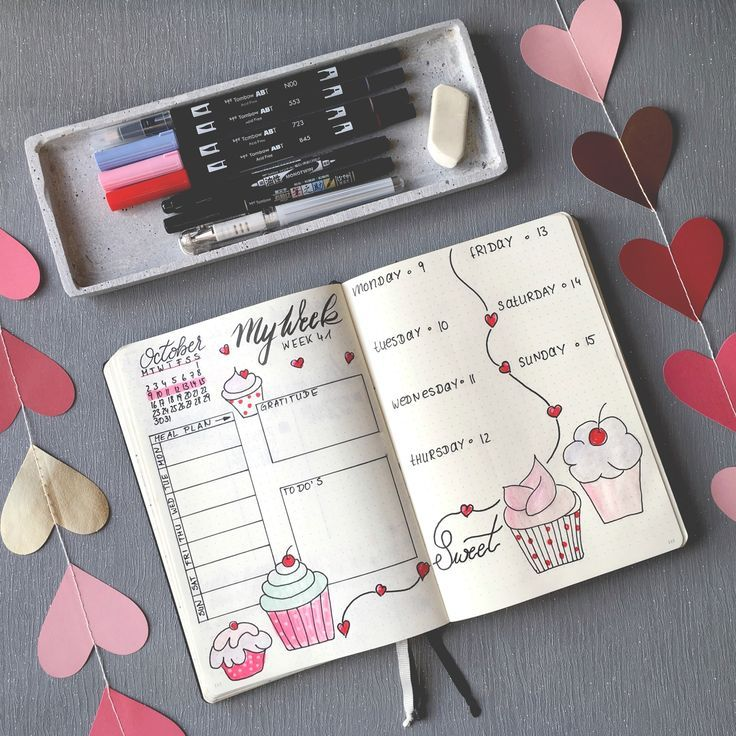 Bullet Journal - Ideas for Weekly Spread - Cupcakes #augustbulletjournal