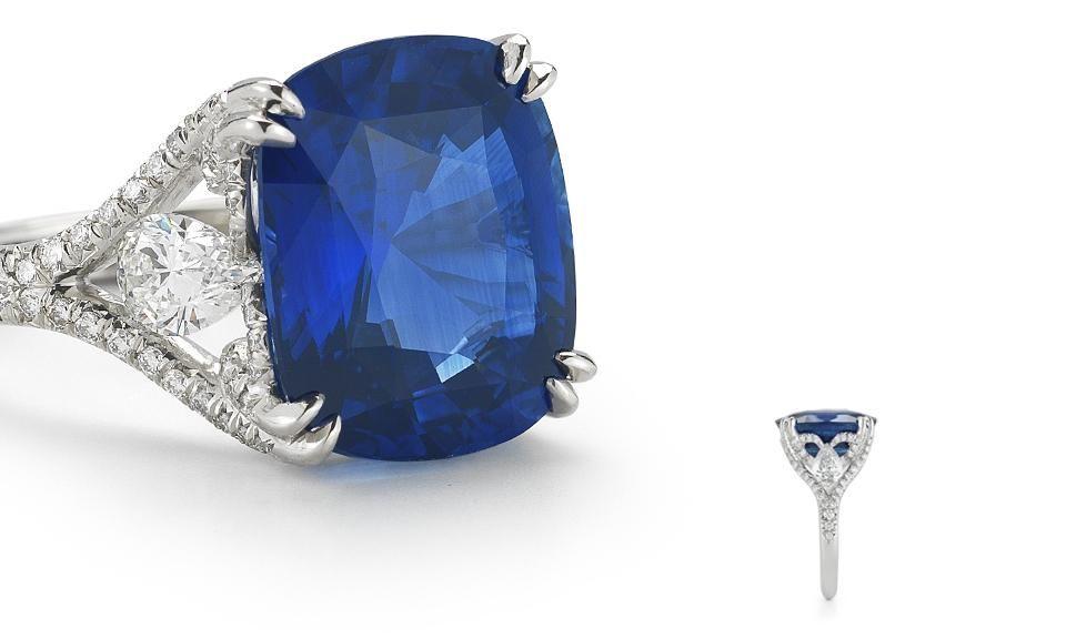 12 15 Carat Sapphire And Diamond Lotus Ring Blue Sapphire Diamond Ring Blue Sapphire Jewelry Purple Sapphire