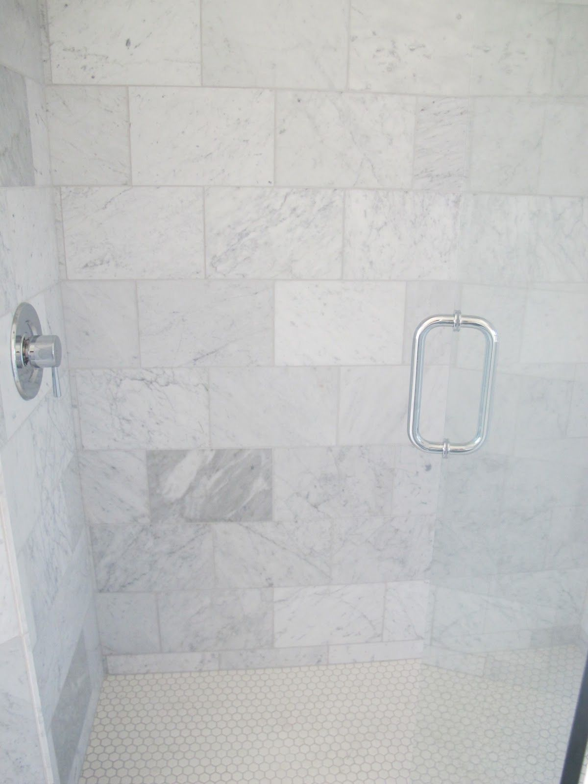 The Shower Is All Carrera Marble From Home Depot