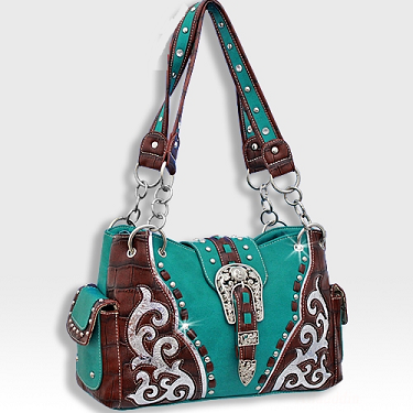 57ced7976 Turquoise Rhinestone Western Buckle Purse | Purses | Bling purses ...