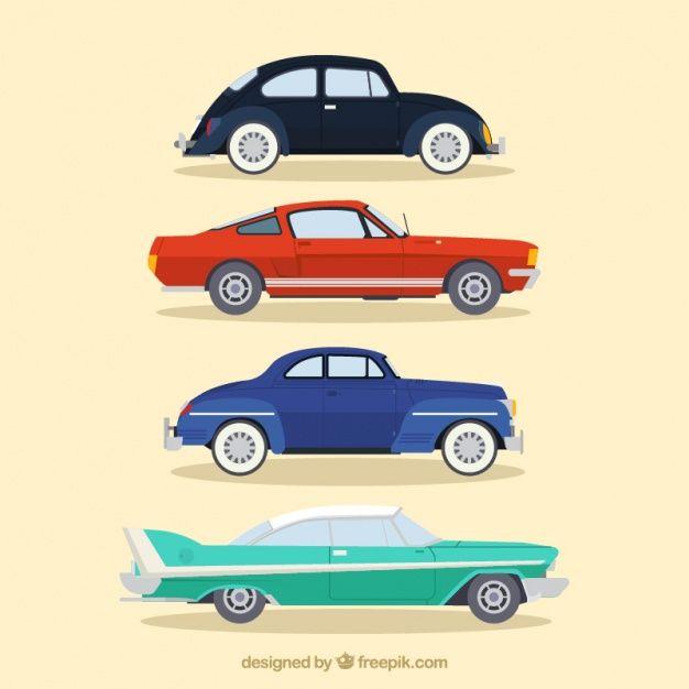 Download Elegant Vintage Car Set In Flat Design For Free Car